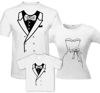 Семейные футболки с фраком и платьем