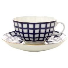 Чашка с блюдцем Кобальтовая клетка (фарфор)