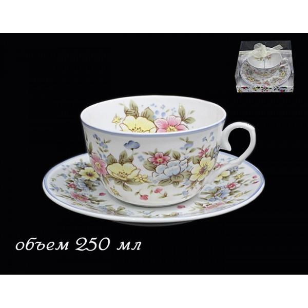 Чашка с блюдцем Ситцевый сад, фарфор