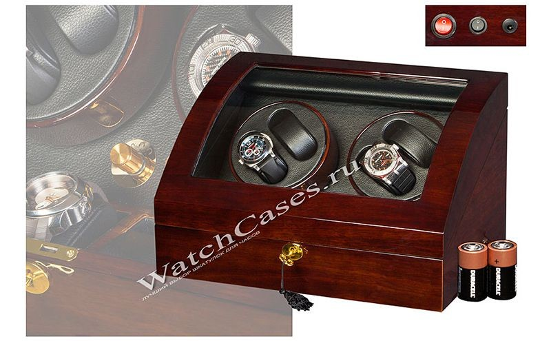 Заводная шкатулка для 4-ех часов фирмы Twing-Pak, коричневая