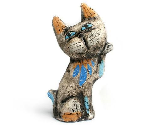 Кошка «Воображуля». Глиняная игрушка ручной работы