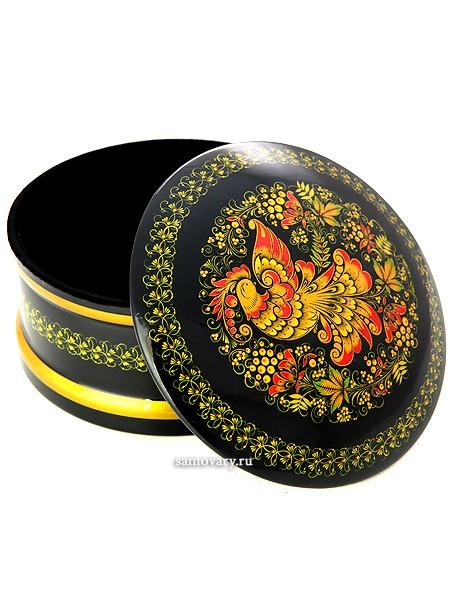 Миниатюрная коробка с хохломской росписью Золотая птица