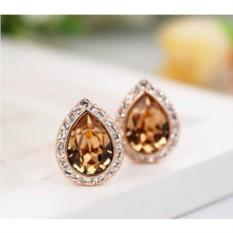 Серьги с кристаллами Сваровски цвета шампань «Лира»
