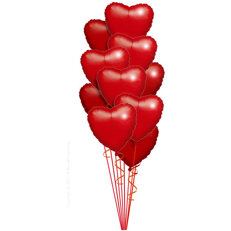 12 фольгированных сердец