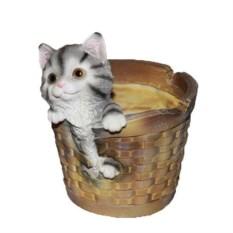 Кашпо Котенок в круглой корзине