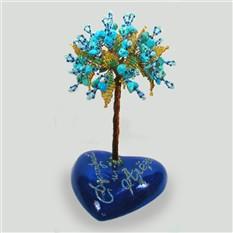 Дерево из бирюзы на сердечке с именной надписью