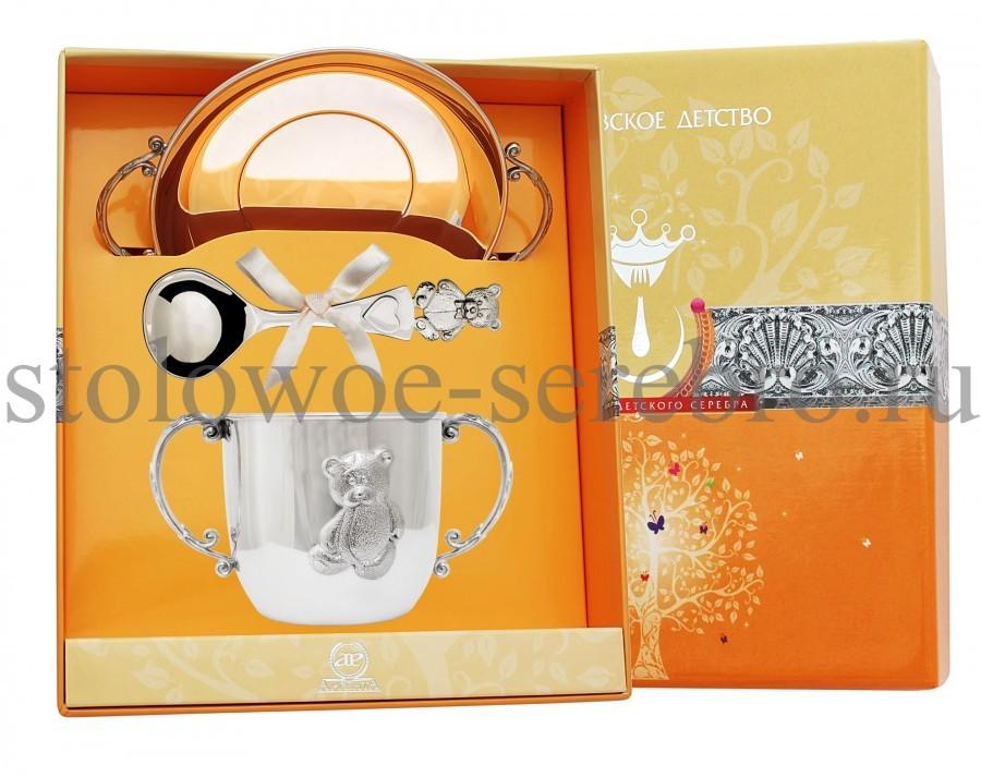 Серебряный столовый набор Мишка №149