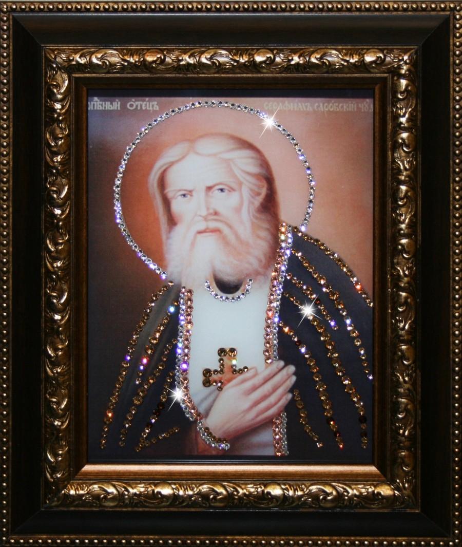 Икона с кристаллами Swarovski Серафим Саровский