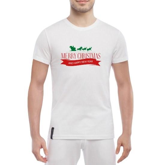 Белая мужская футболка Merry Christmas