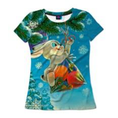 Женская футболка 3D Заяц с подарком