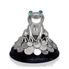 Статуэтка Лягушка на деньгах с зелёными глазами
