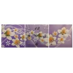 Модульные настенные часы в виде 3-х картин с бабочками