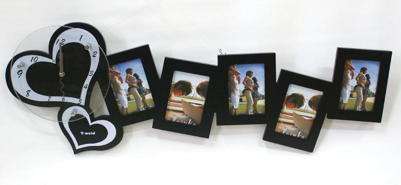 Оригинальные настенные часы-фоторамка Два любящих сердца