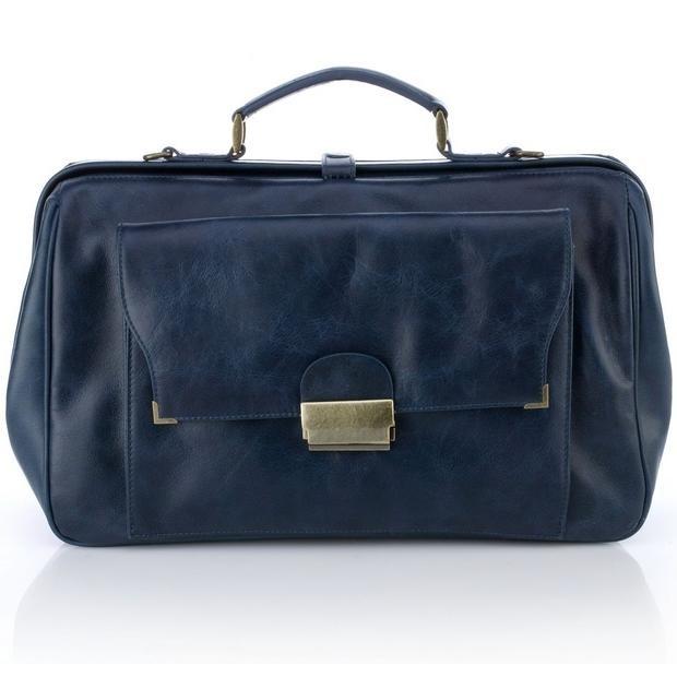 Женская сумка-портфель Ретро (синяя)