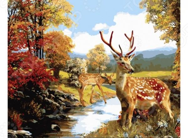 Набор для живописи по номерам на холсте Белоснежка Олени