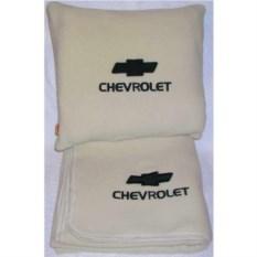 Бежевый плед с черной вышивкой Chevrolet