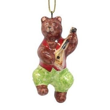 Ёлочная игрушка Медвежонок с балалайкой