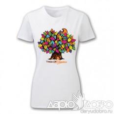 Белая женская футболка Дерево Счастья от iCalistini