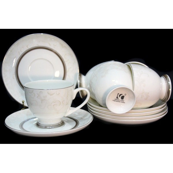 Чайный набор Серый шелк, 12 предметов (костяной фарфор)