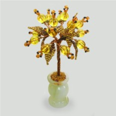 Дерево Укрепляющее веру из янтаря в вазочке из оникса