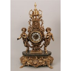 Часы из бронзы с мрамором Сатиры с гирляндой