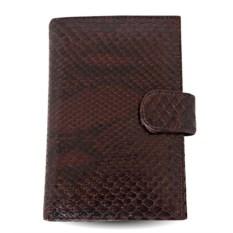 Коричневое портмоне для автодокументов из кожи питона