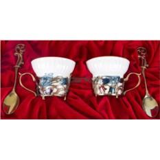 Фарфоровая чайная пара на 2 персоны Колокольчики