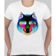 Женская футболка Волк в очках