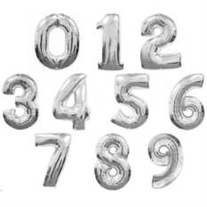 Фольгированные цифры с гелием (цвет — серебряный)