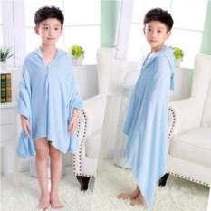 Голубое махровое полотенце с капюшоном Зайка