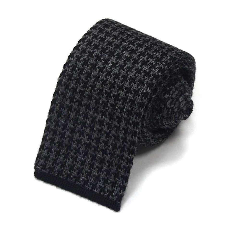 Черно-серый шерстяной вязаный галстук Valentino