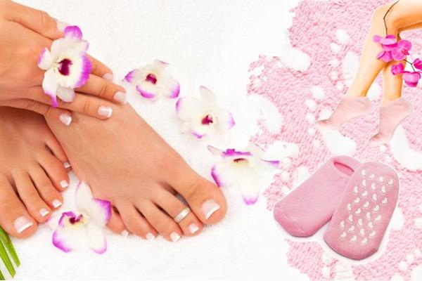 Розовые силиконовые гелевые SPA носочки