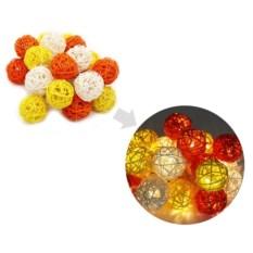 Светодиодная гирлянда Желтые ротанговые шарики
