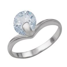 Женское кольцо из серебра с крупным фианитом