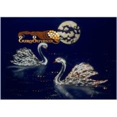 Картина Swarovski Лебеди под луной 3345 кристаллов, 50х70 см