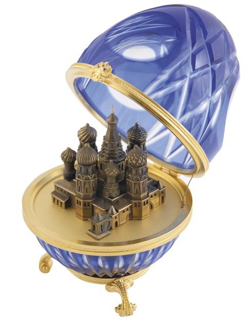 Яйцо хрустальное Храм Василия Блаженного синее