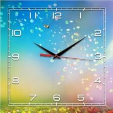 Квадратные голубые настенные часы Весна