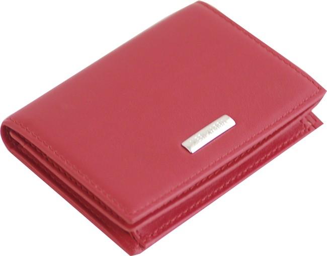 Визитница Neri Karra, красная с серебристой отделкой