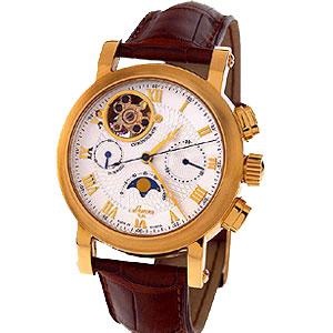 Золотой хронограф с лунным календарем «Буран»