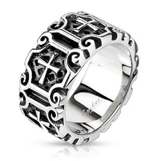 Мужское кольцо из стали Spikes Средневековый крест