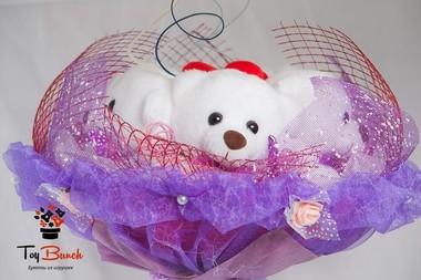 Букет из мягких игрушек (фиолетовый, пять белых мишек)