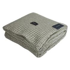 Серый плед из хлопка Gant Home Melange Waffle-Knit
