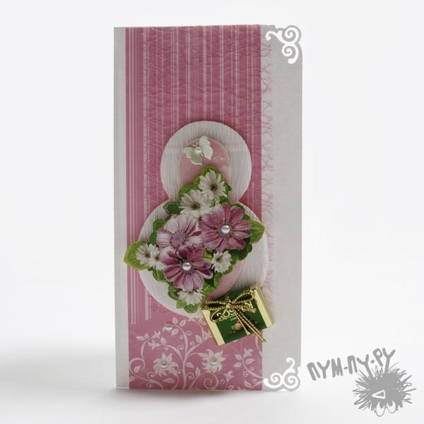 """Розовая открытка """"Цветущая 8"""""""