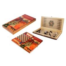 Настольная игра Россия: нарды, шашки , размер 40х20см