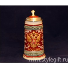 Пивная кружка с крышкой Россия. Герб