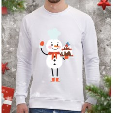 Белый мужской свитшот Снеговик-кондитер