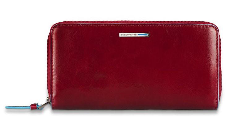 Женское красное портмоне на молнии Piquadro Blue Square
