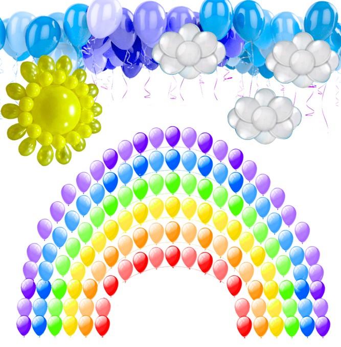 Оформление шарами Радужный день