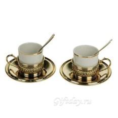 Подарочный кофейный набор с позолотой на 2 персоны