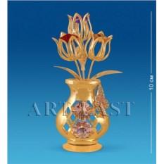 Фигурка с кристаллами Swarovski Ваза с тюльпанами